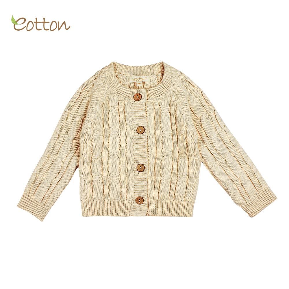 Eotton Organic Baby Toddler Cable Knit Long Sleeve Cardigan