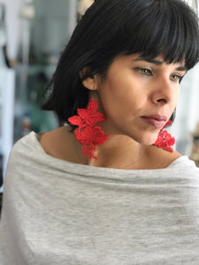 Red Garden earrings by Accidental Battaglia