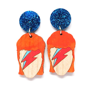 Aladdin Sane Painted Dangle · Blue Glitter