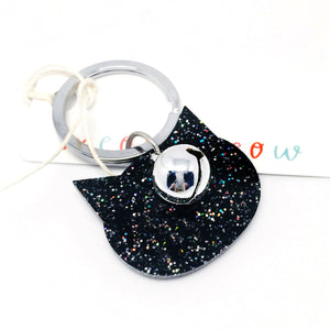 Glitter Cat Keyring · Black