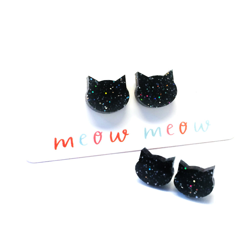 Cat Stud · Black with Glitter