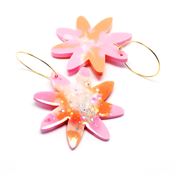 Resin · Bloom Hoops · Pinky Orange
