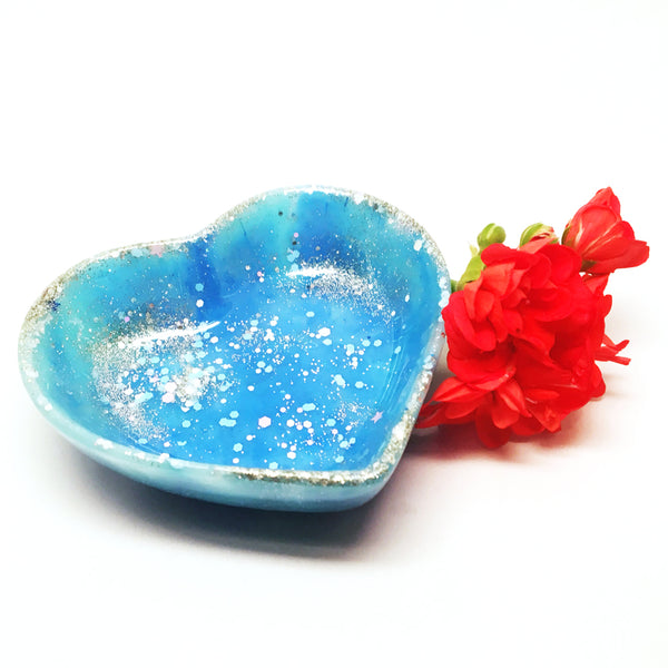 Resin Trinket Bowl · 'i heart you' · Blue