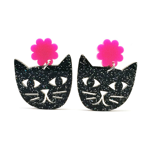 Cat Face · Black Glitter + Hot Pink