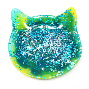 Crazy Cat Lady Trinket Dish · Teal + Lime