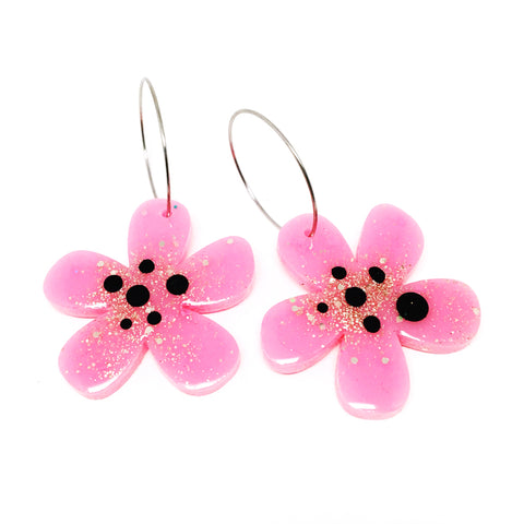 Resin · Flower Hoops · Pink