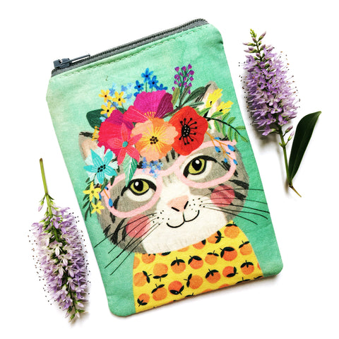Coin Purse · Mint with Grey Cat
