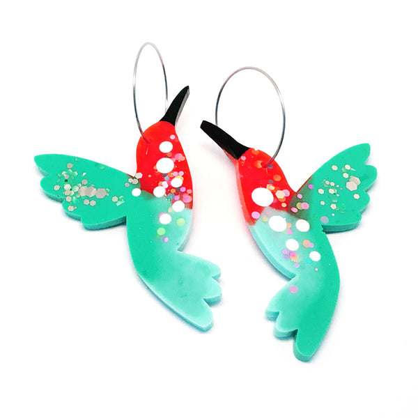 Hummingbird Hoops · Teal Orange