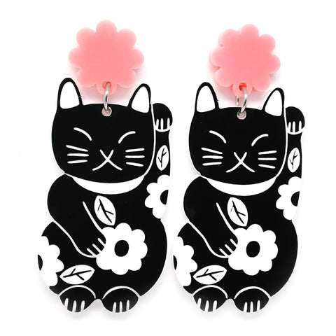 Lucky Cat · Black + Pink