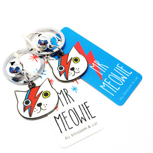 Mr Meowie Keyring · White