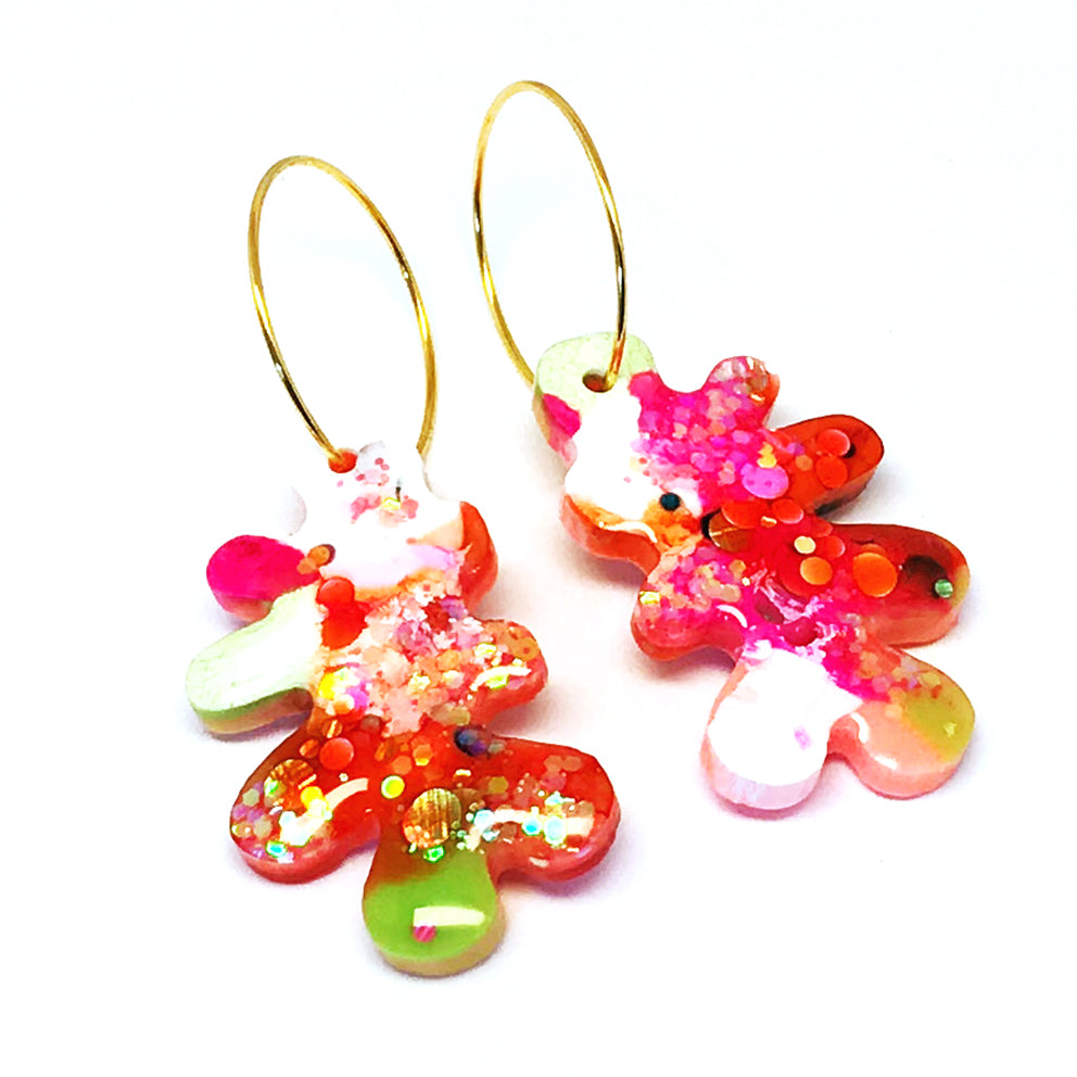 Resin · Mini Coral Hoop · Orange Multi · 1