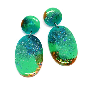 Resin Dangle · Oval · Green