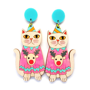 Christmas Kitty Earring · Pink Reindeer Jumper