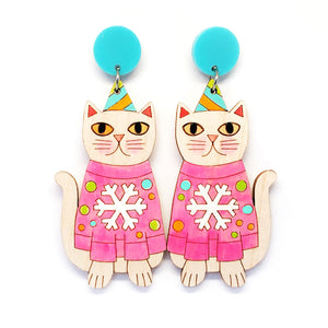 Christmas Kitty Earring · Pink Snowflake Jumper