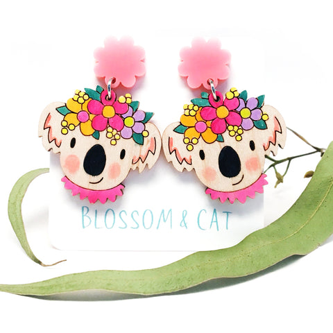 Koala Dangle Earrings · Light Pink