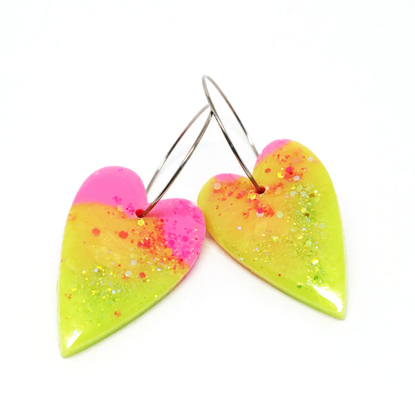 'I heart you' Hoops · Lime & Pink