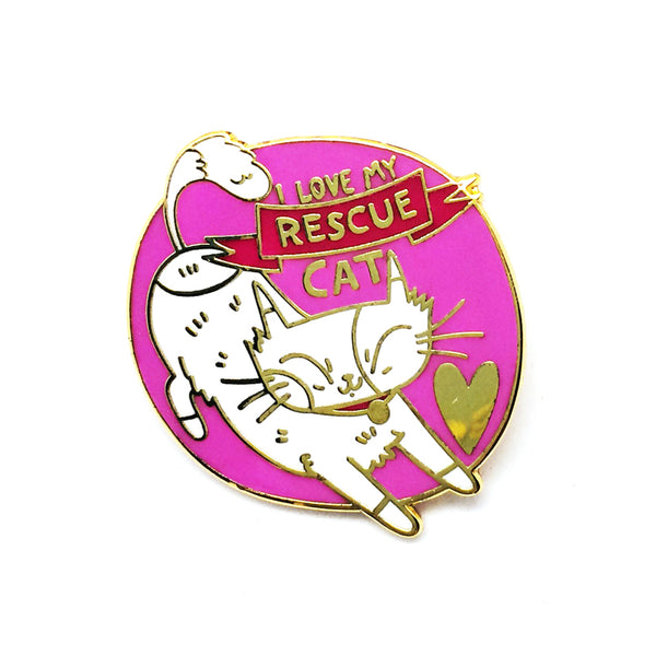 'I Love My Rescue Cat' Pin · Pink