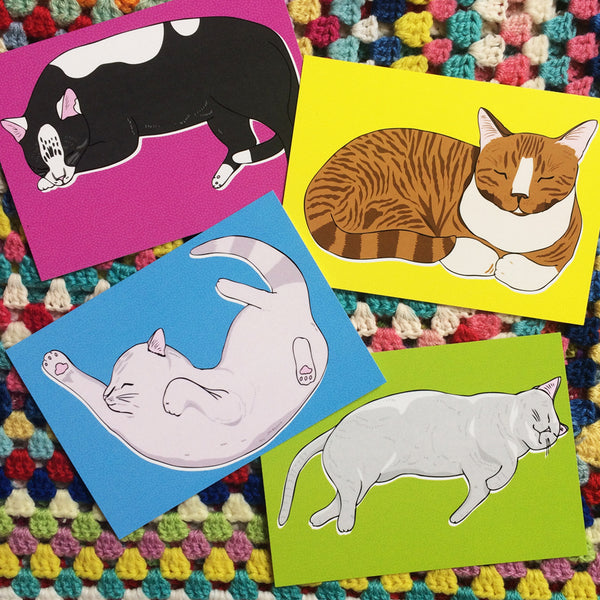 Sleeping Kitties Postcard Set · Pack of 8