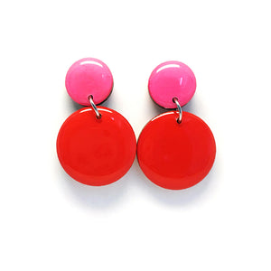 Pebble Dangles · Red + Hot Pink