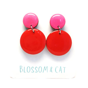 Moon Dot Dangle · Red + Hot Pink