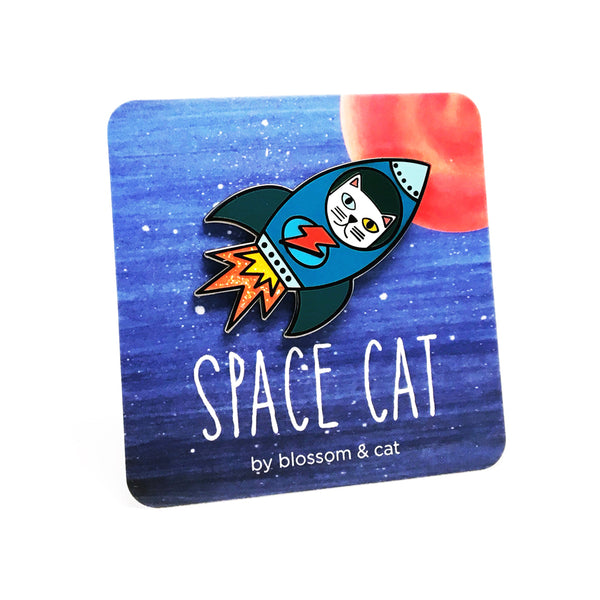 Space Cat Pin · Choose Your Colour!