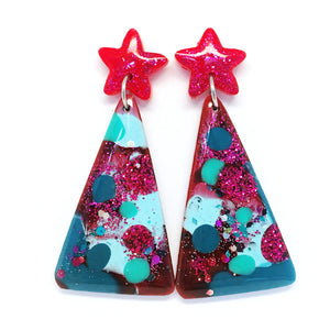 Christmas Tree Earring · Raspberry + Teal