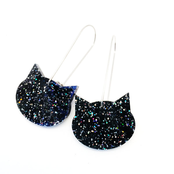 Cat on a Wire · Black with Glitter