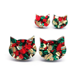 Festive Cat Stud · Red, Green + Gold