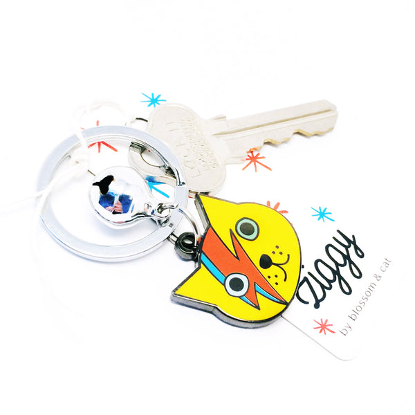 Ziggy Cat Keyring · Yellow