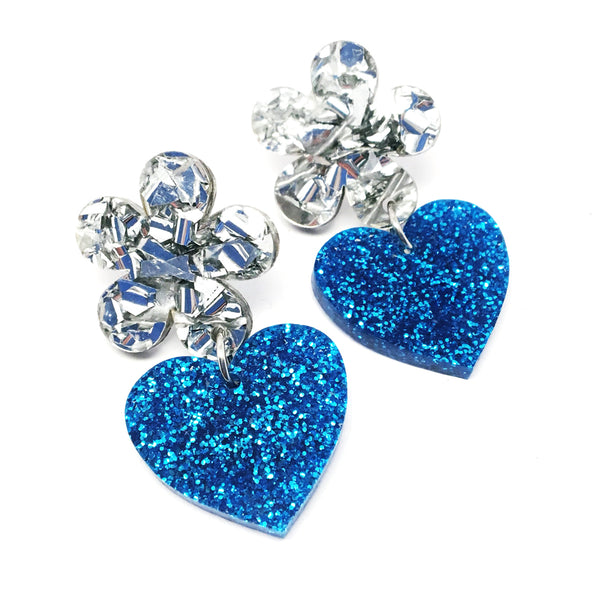 Flower Heart Dangles · Silver + Blue