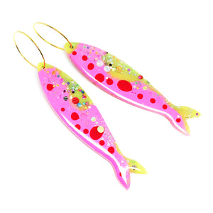 Resin · Sardine Earring · Pink Green · 01