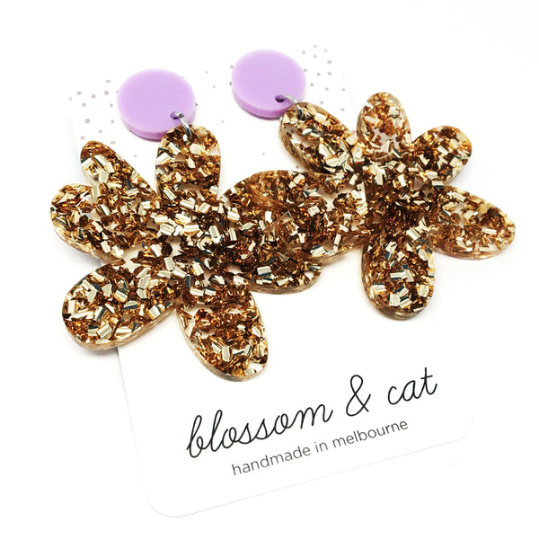 Bloom Dangles · Gold + Lilac