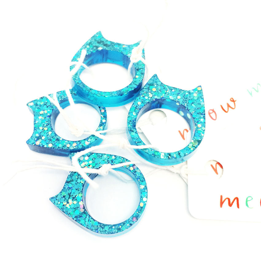 Glitter & Resin Cat Ring · Blue Sparkles