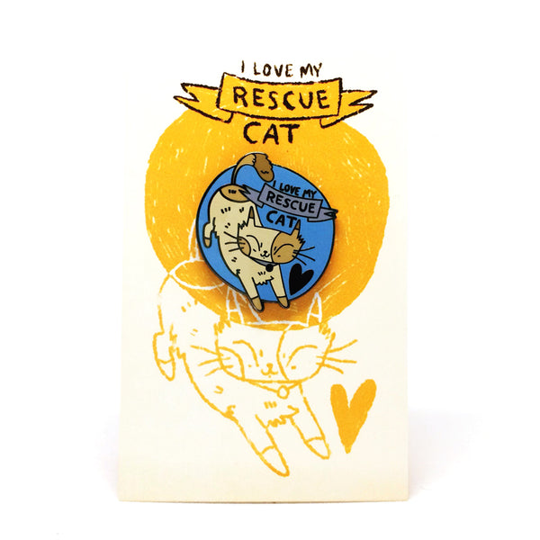 'I Love My Rescue Cat' Pin · Blue
