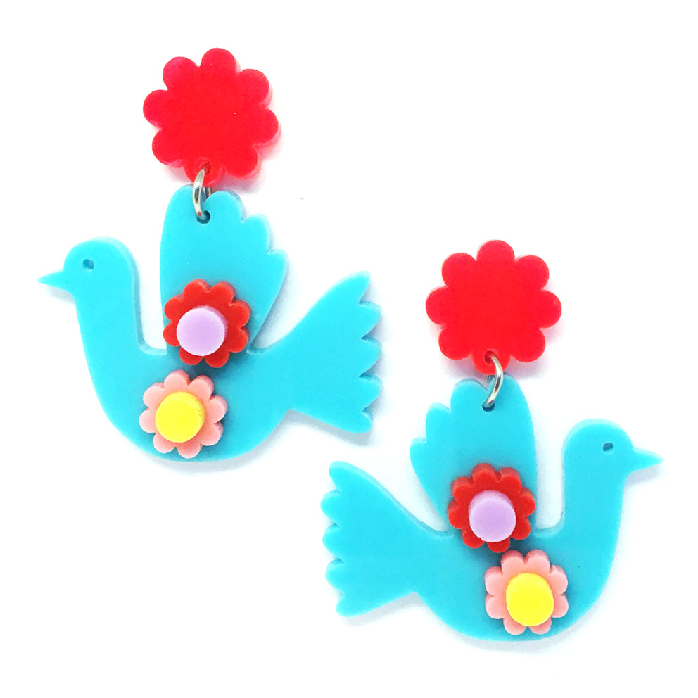 Folk Art Birdie Dangle · Turquoise + Neon Red