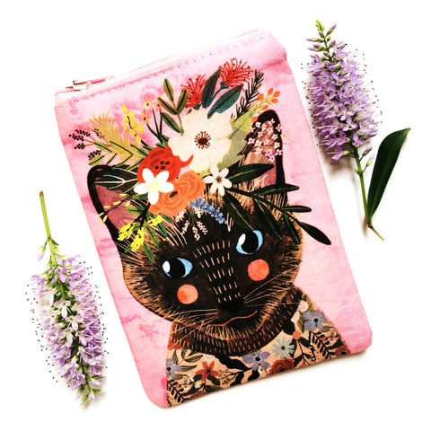 Coin Purse · Pink with Brown Cat