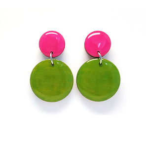 Pebble Dangles  · Chartreuse + Cerise