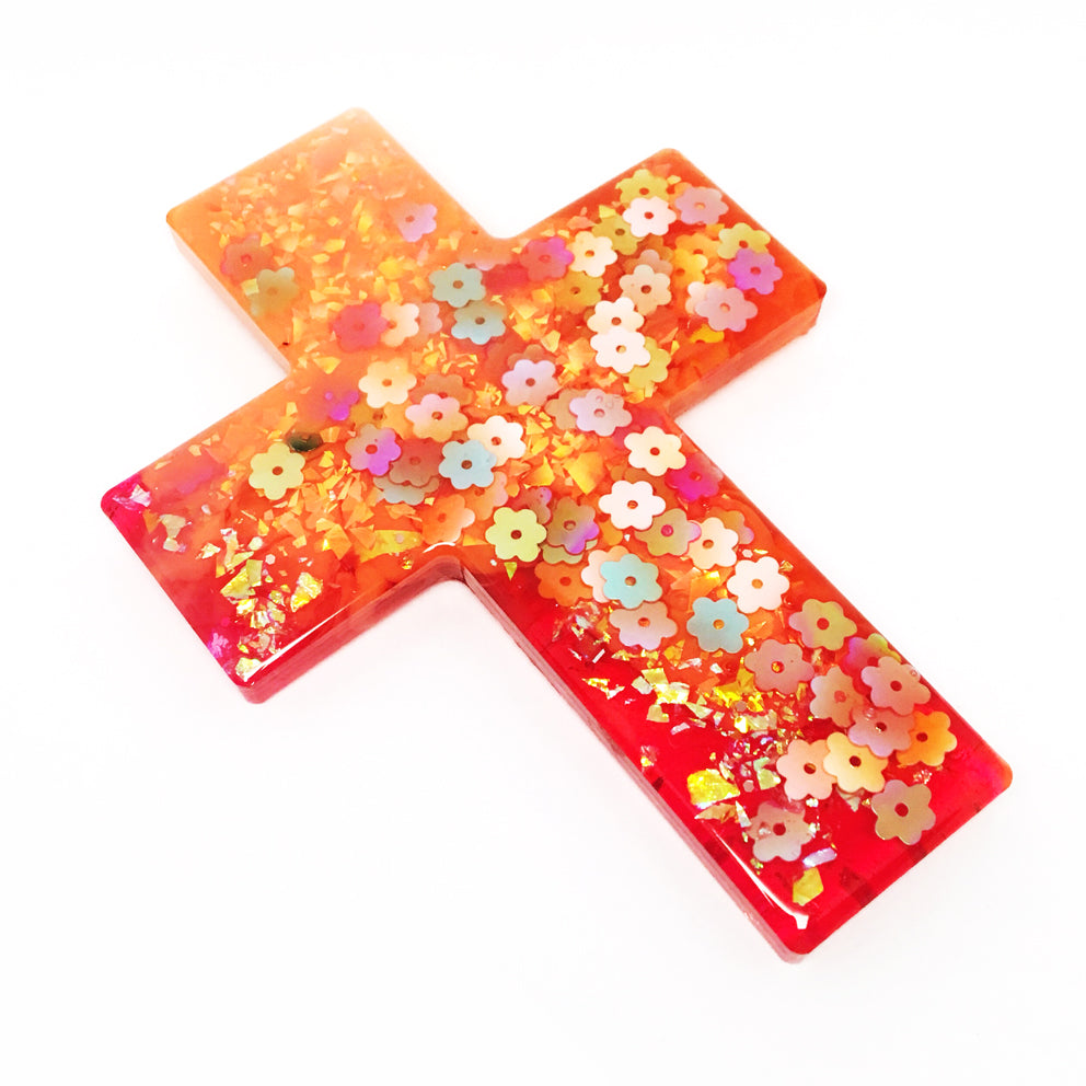 Resin Decorative Cross · Orange