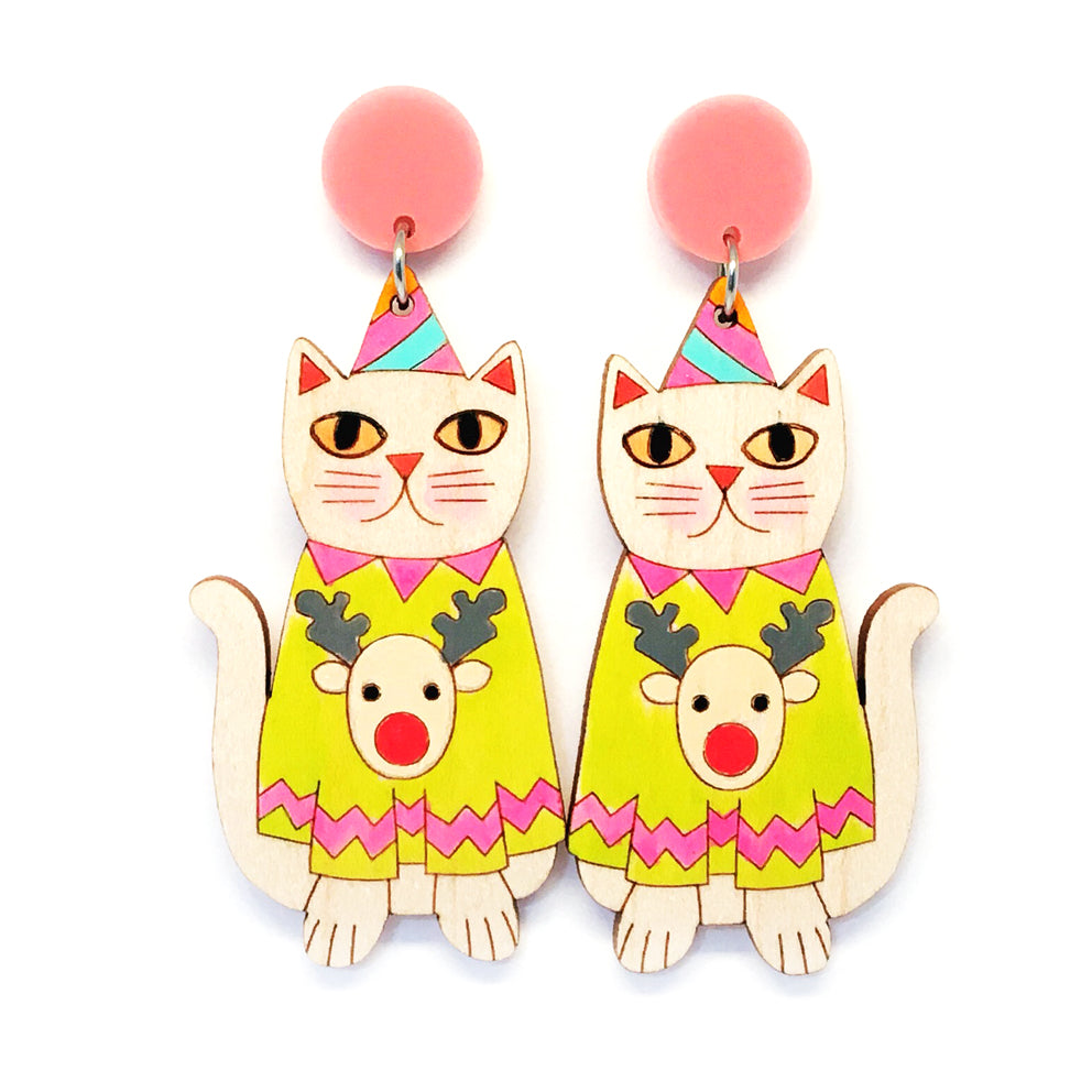 Christmas Kitty Earring · Lime Green Reindeer Jumper