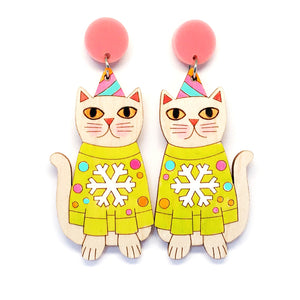 Christmas Kitty Earring · Lime Green Snowflake Jumper