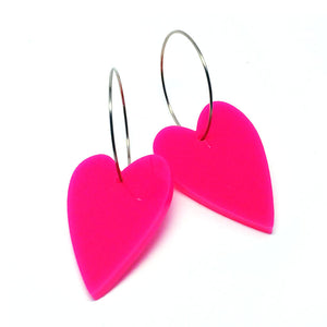 'i heart you' Hoop · Hot Pink