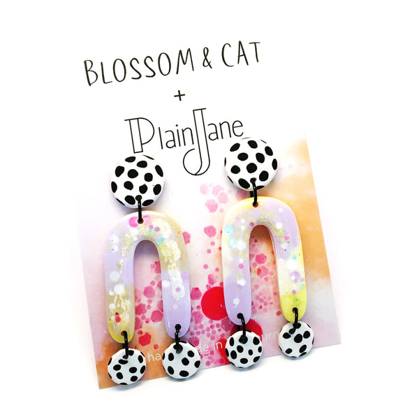 blossom & cat + Plain Jane · Iris Dangle · Lemon Lilac