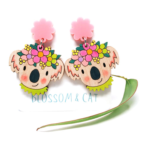Koala Dangle Earrings · Pink
