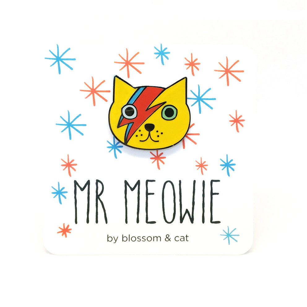 Mr Meowie Cat Pin · Yellow