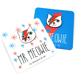 Mr Meowie Cat Pin · White