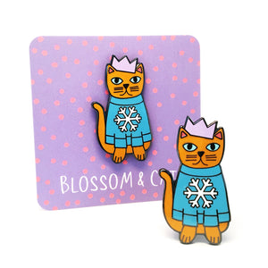 Christmas Cat Pin · Blue Snowflake Jumper