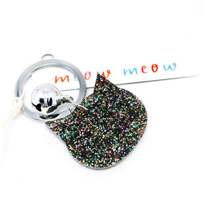 Glitter Cat Keyring · Rainbow