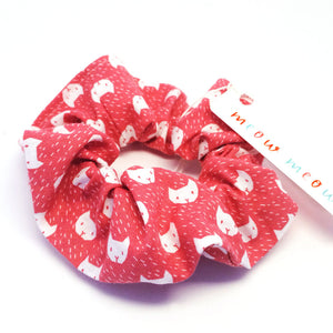 Scrunchie · Red with Cat Face