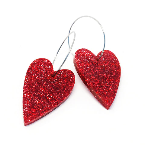 'i heart you' Hoop · Red Glitter