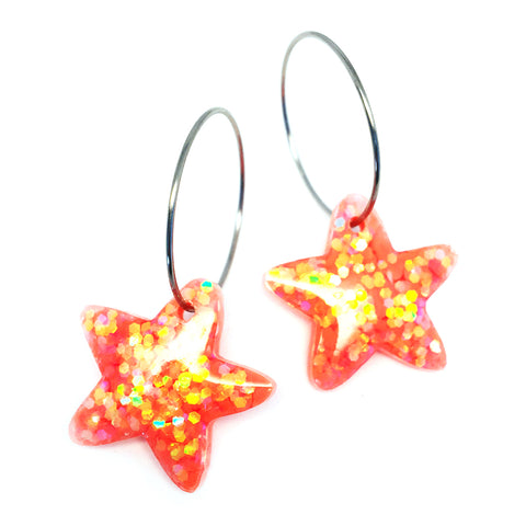 Resin · Mini Starfish Hoop · Orange Apricot